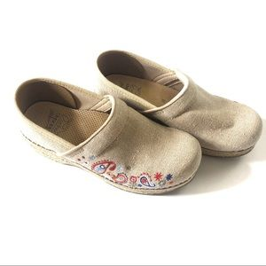 Dansko Jute Vegan Beige Embroidered Work Clogs